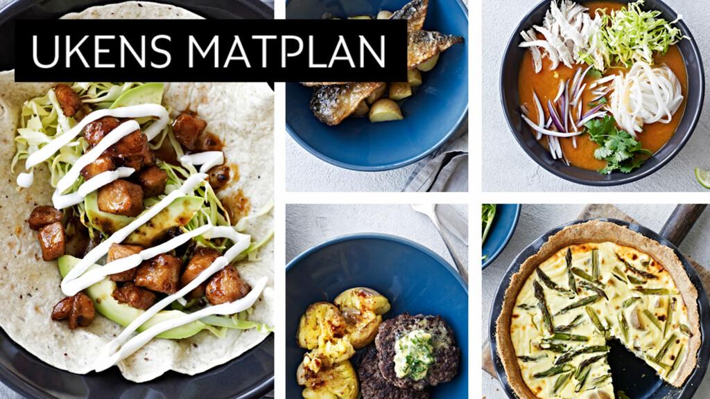 ENKLE: Denne ukens matplan var preget av fem lekre oppskrifter som er enkle å lage. Hva med en vegetar-terte med geitost, eller litt hottere retter som asiatisk suppe eller wrap med svinekjøtt? Foto: All Over Press