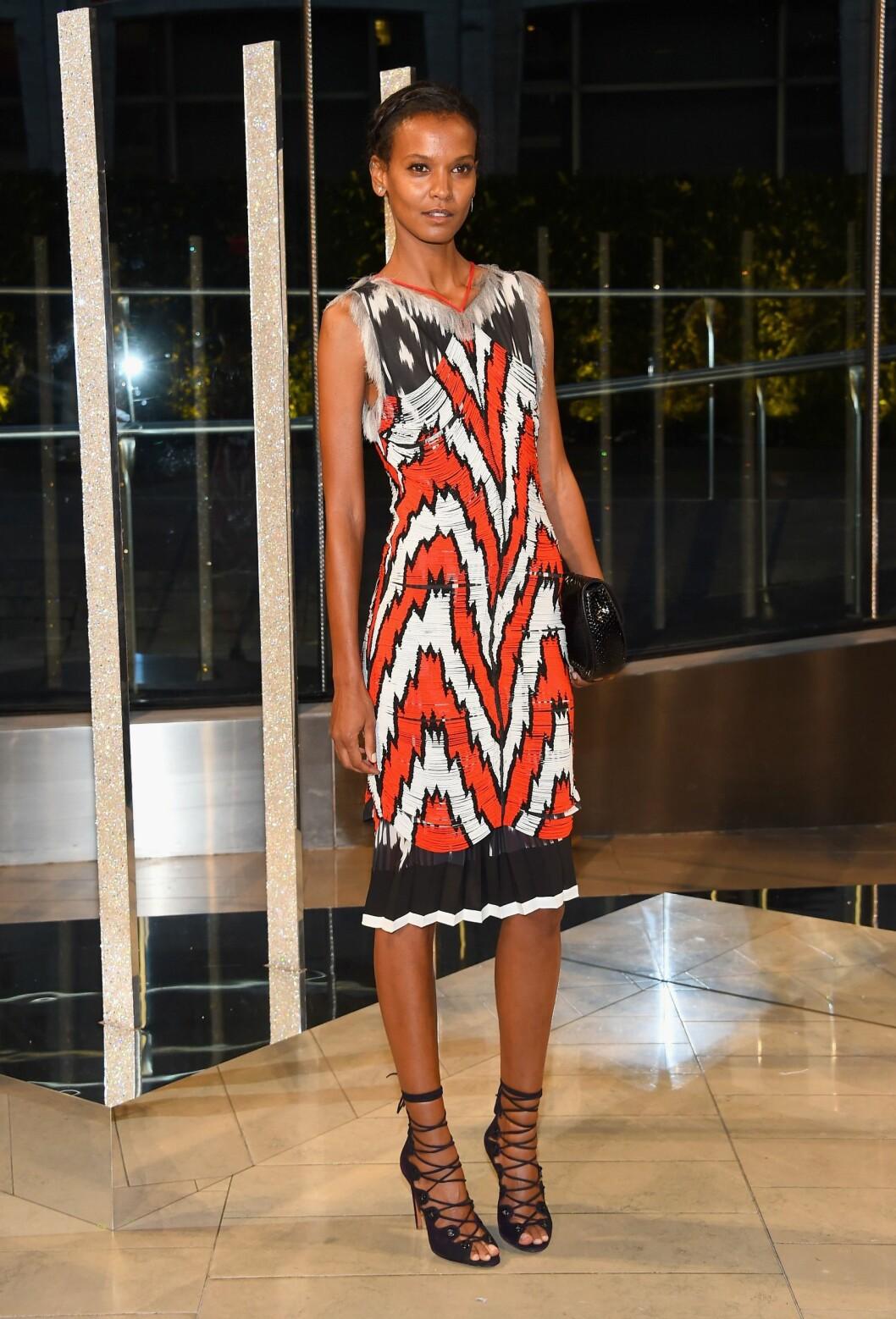 MØNSTER: Modellen Liya Kebede (37) i lekker kjole. Foto: Afp
