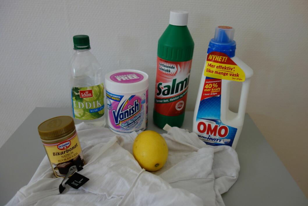 GODE HJELPERE FOR UMULIGE FLEKKER: Salmiakk, eddik, sitron, natron, flekkfjerningsmidler og blendahvitt vaskepulver... Foto: Cecilie Leganger