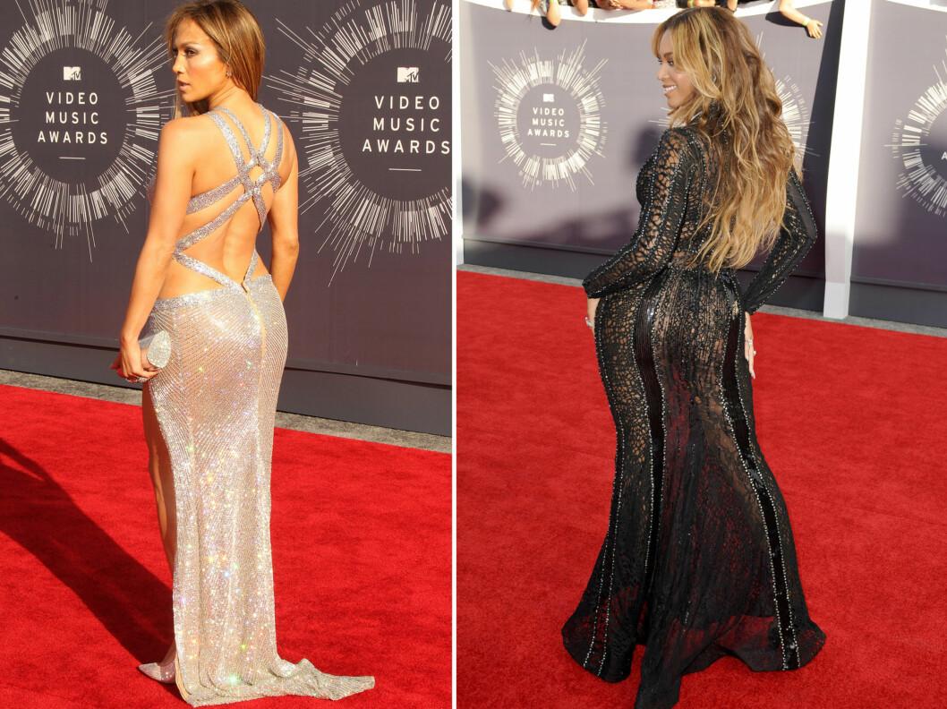 KJENTE RUMPER: Jennifer Lopez og Beyoncé har to av verdens mest berømte bakender.