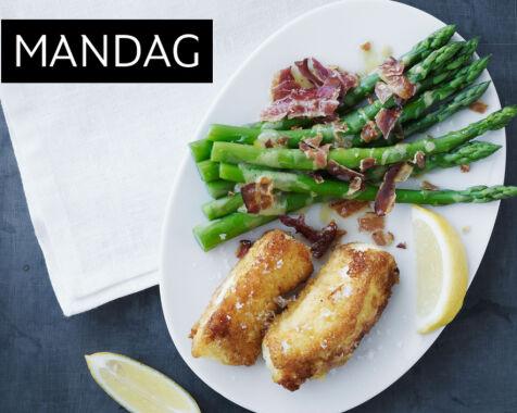 image: Sprøstekt torsk med aspargessalat