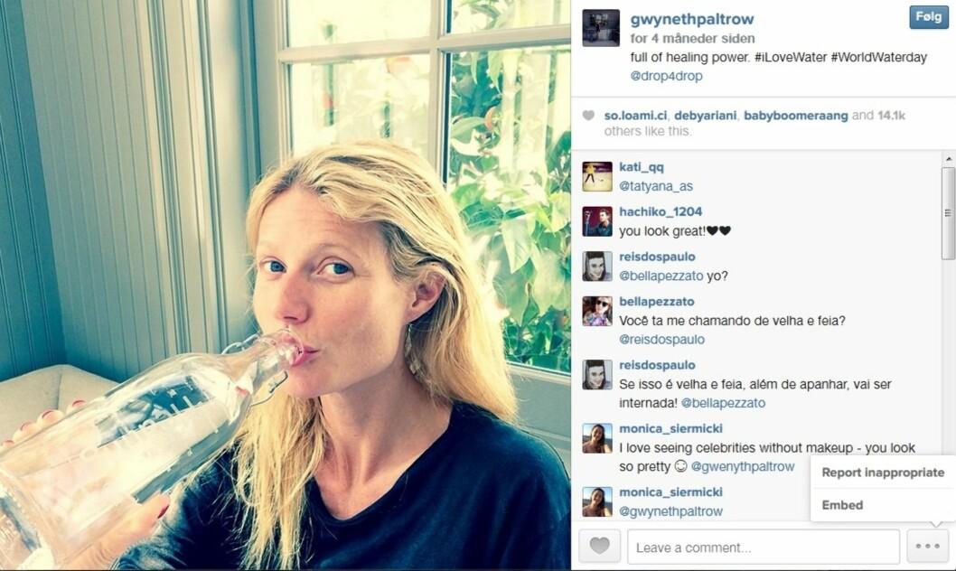 UTEN SMINKE: Gwyneth Paltrow er blant kjendisene som ikke er redd for å dele bilder av seg selv uten sminke.