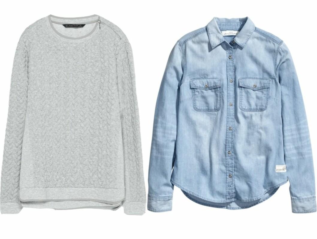 FÅ STILEN: Collegegenser fra Zara, kr 299. Denimskjorte fra H&M, kr 249.  Foto: Produsentene