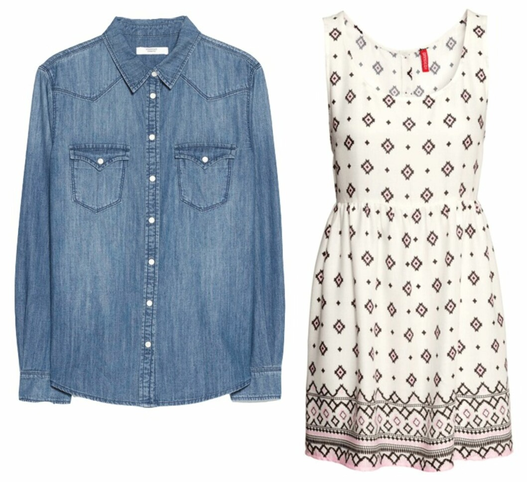 FÅ STILEN: Denimskjorte fra Mango, kr 199. Kjole fra H&M, kr 149.  Foto: Produsentene