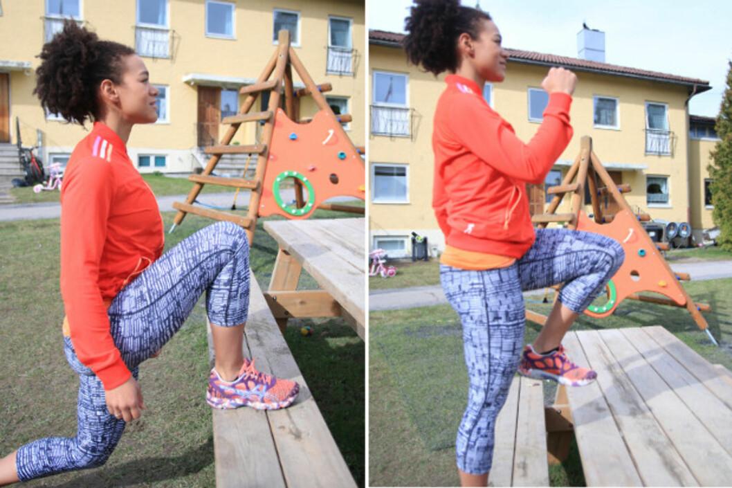 SLIK GJØR DU: Stå med høyre ben på benken, og ha tyngden over dette benet. Trykk fra, slik at du stiger opp på benken og kommer opp i et høyt kneløft med venstre ben. Senk tilbake og sett venstre fot i bakken godt bak benken. Senk her bakerste kne så langt ned mot bakken du klarer i et utfall. Foto: Trine Solberg