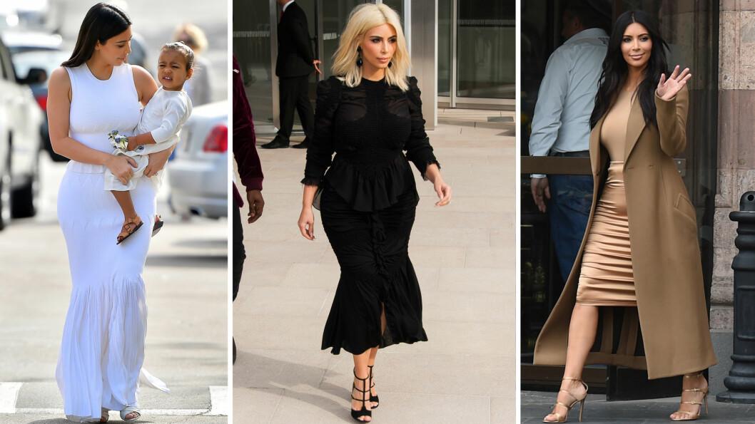SAMME FARGE: Kim Kardashian kler seg nesten alltid i antrekk som består av plagg i samme farge eller fargesjanger! Foto: Scanpix