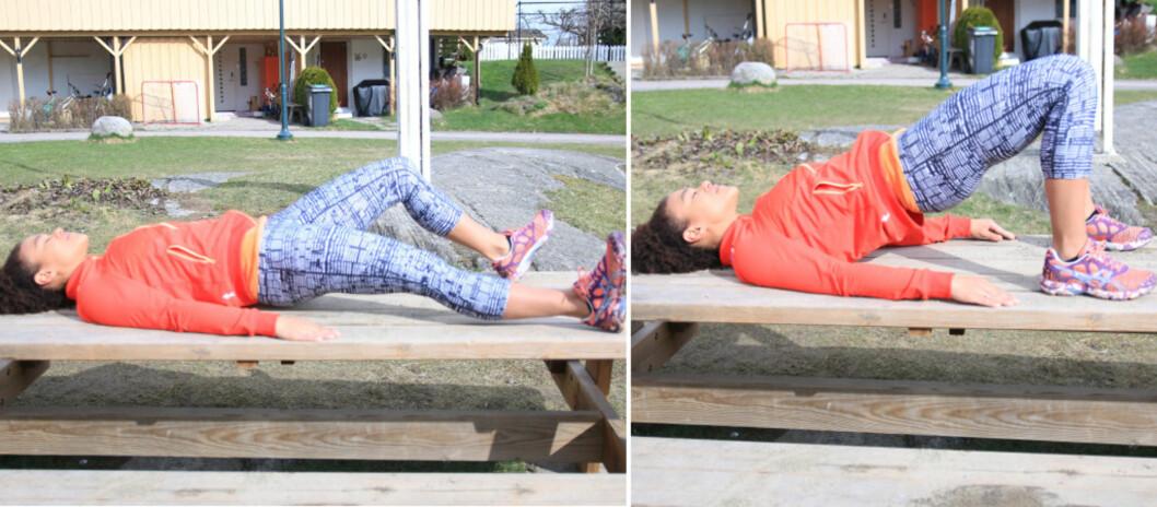 SLIK GJØR DU: Ligg på ryggen med hele kroppen strak, spredte ben og armene ned langs siden. Knip hele undersiden av kroppen, slik at setet løfter seg fra underlaget. Lag en V med hælene slik at du med små skritt gradvis går innover mot setet og føttene blir smalere. Skyv hoftene opp i luften så du på toppen har en strak linje fra kneet, gjennom hoften og ned til skuldrene.  Foto: Trine Solberg
