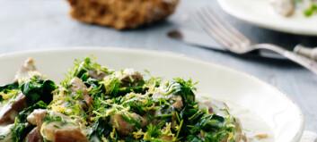 Gresk lammegryte med spinat og sitronsaus