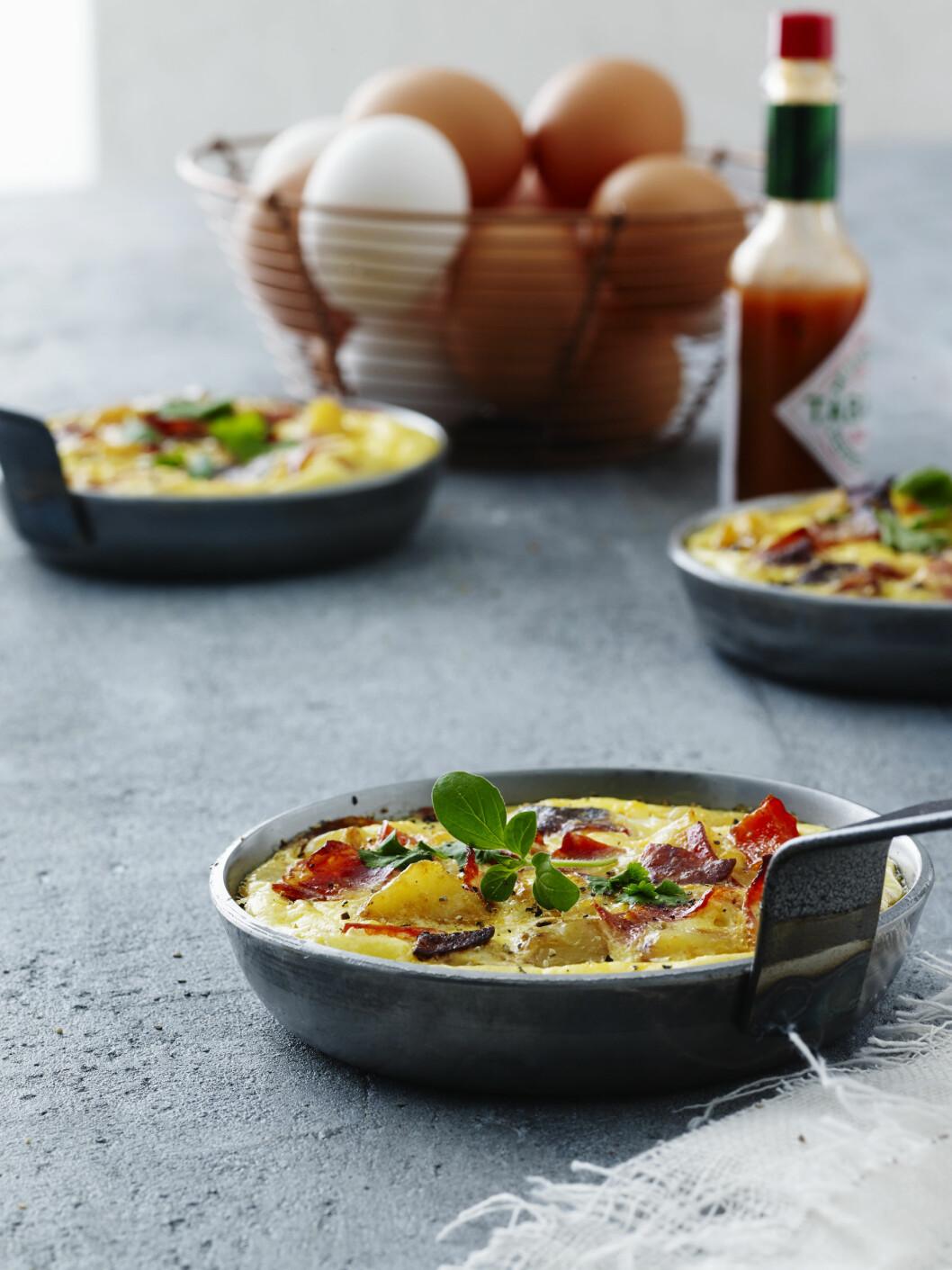 TIPS: Tortillaen kan stekes ferdig i stekepannen ved svak varme istedenfor å stekes i ovnen. Foto: All Over Press