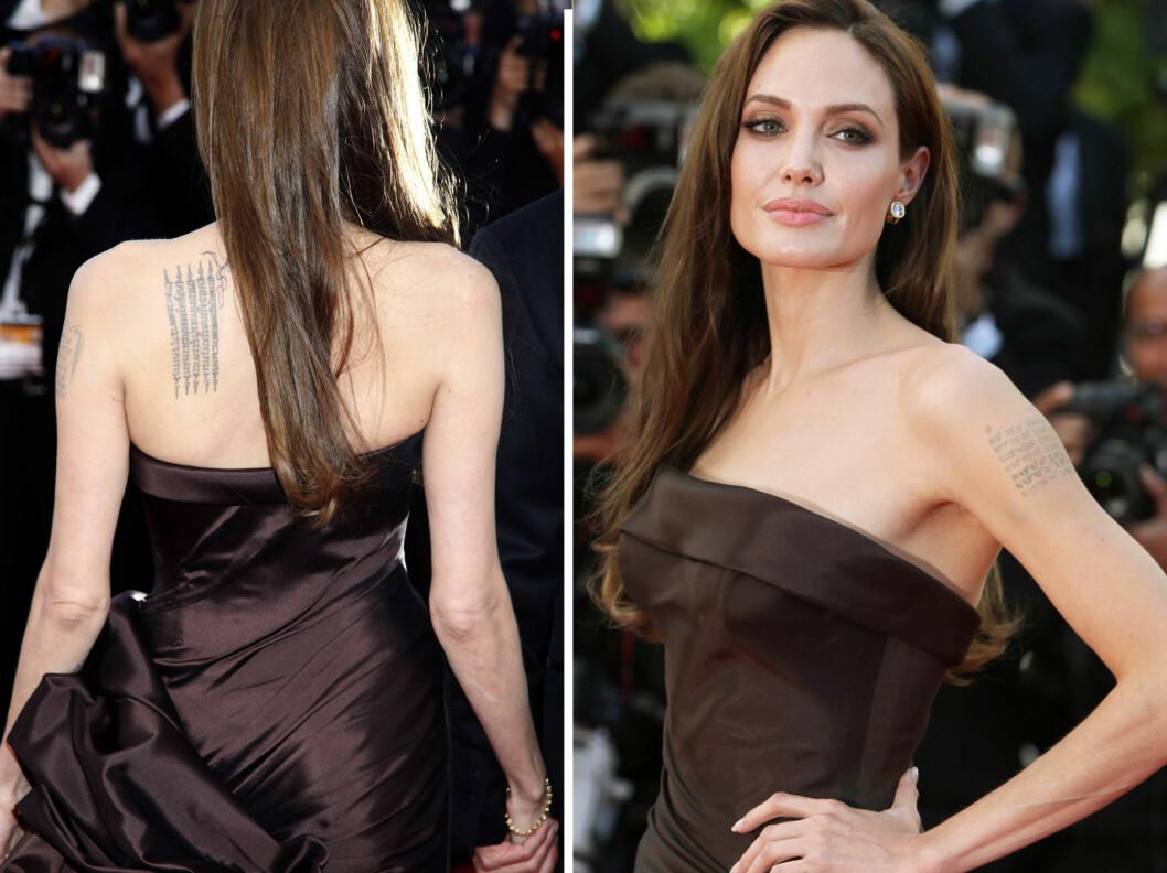 ANGELINA JOLIE TATOVERINGER: Angelina Jolie er en av kjendiskvinnene i Hollywood som er kjent for sine mange tatoveringer.