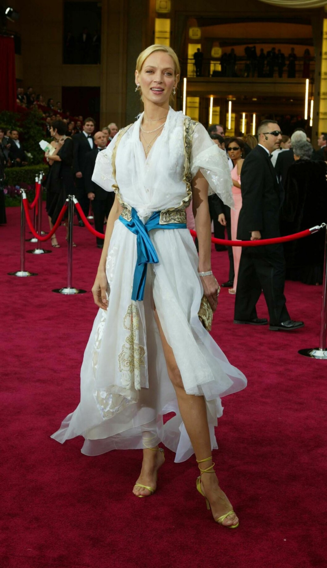 "Celebrities arrive at the 76th Annual Academy Awards® that was held at the Kodak Theatre in Hollywood on Sunday, February 29, 2004 Shown here is Uma Thurman  Pictures by Russell Einhorn                  Ref: RE 290204 A   The Oscar statuette is the copyrighted property of the Academy of Motion Picture Arts and Sciences, and the statuette and the phrases ""Academy Award(s)"" and ""Oscar"" are registered trademarks under the laws of the United States and other countries. All published representations of the Award of Merit statuette, including photographs, drawings and other likenesses, must include the legend ©A.M.P.A.S.® to provide notice of copyright, trademark and service mark registration.   Los Angeles:	310-821-2666 New York:	212-619-2666 London:	207-107-2666 photodesk@splashnews.com Foto: Russell Einhorn  / Splash News/ All Over Press"