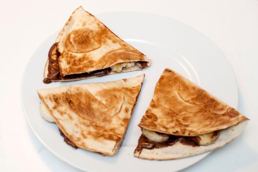 <strong>RASK DESSERT:</strong> Vegetarbloggen.no anbefaler quesadillas av brune bananer. Kjapt og veldig enkelt å lage. Foto: Vegetarbloggen.no