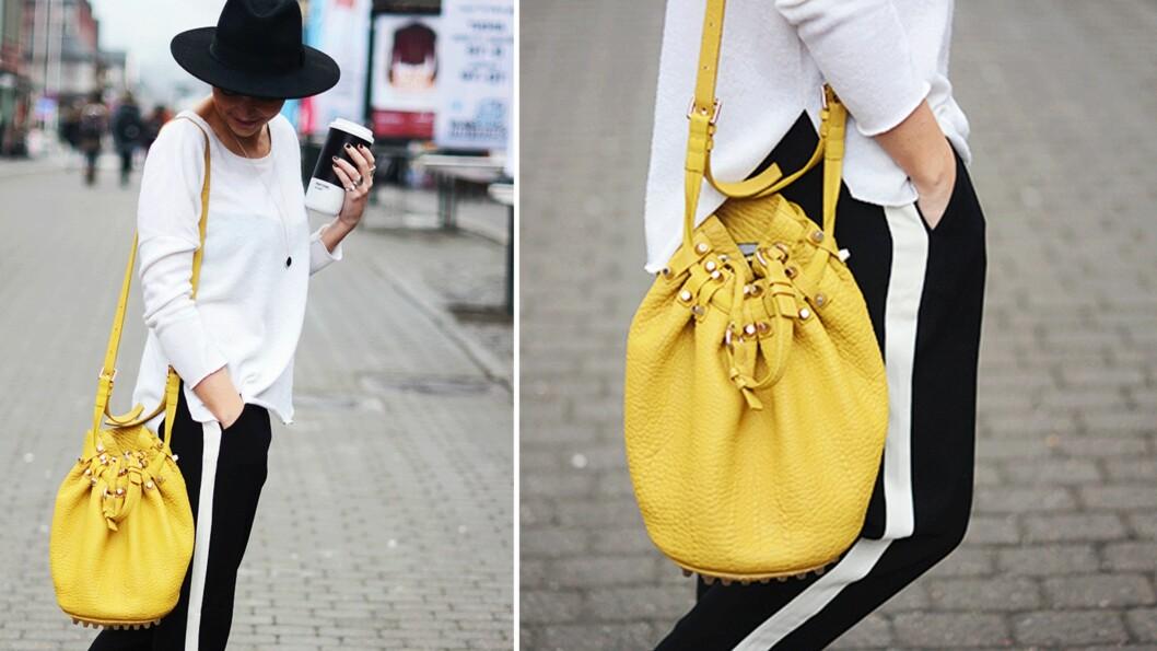 DAGEN BLOGGSTIL: STYLEmag-blogger Marie Murstad kombinerer svart og hvitt med et varfriskt smell av gult!  Foto: Outandaboutmarie.com