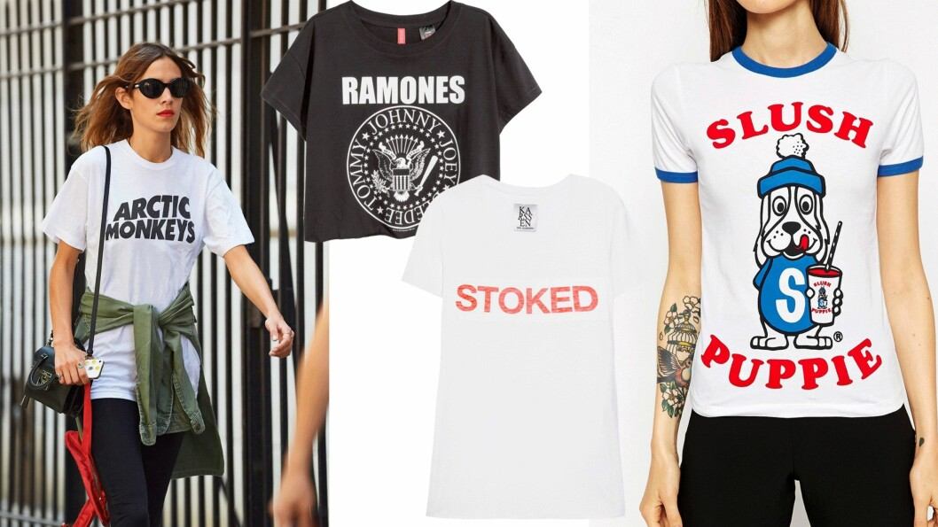 FÅ VINATGE-LOOKEN: Du trenger ikke saumfare bruktbutikkene for å få den retro looken - vi har funnet de kuleste vintage-inspirerte T-skjortene!  Foto: All Over, Net-a-porter.com, Asos.com
