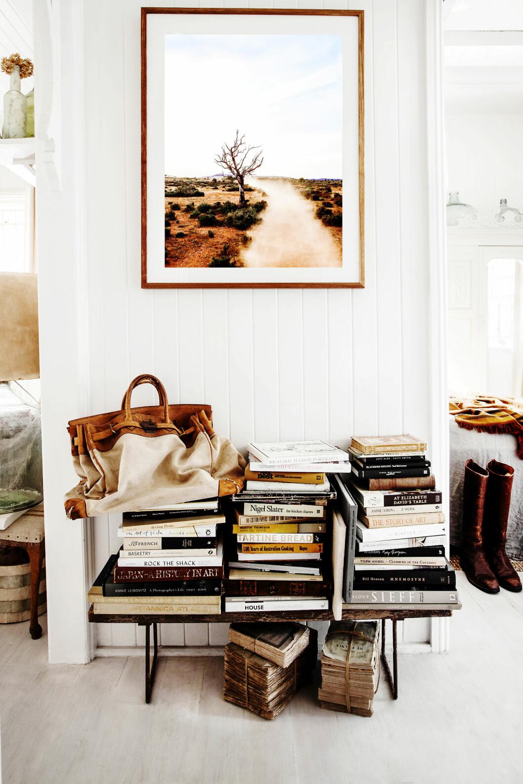 KUNSTNER: Over samlingen av kunstbøker og gamle bøker med en vintage Hermès bag, henger et foto tatt av Kara selv. Hun selger dem på shop.kararosenlund.com Foto: Kara Rosenlund