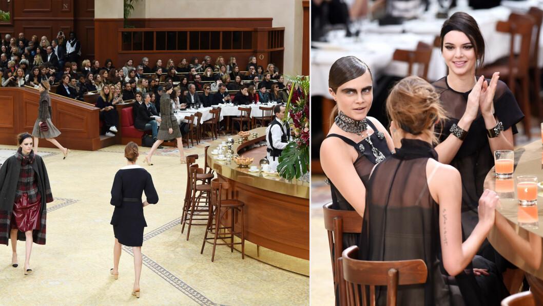 PÅ KAFÉ MED CHANEL. Visningen var laget for å etterligne et klassisk Parisisk brasseri, der modellene både gikk rundt og satt ved baren. På bildet til høyre ser du Cara Delevingne og Kendall Jenner.  Foto: All Over Press