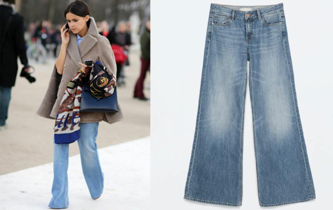Vårens viktigste buksetrend er sleng i bena. Jo mer sleng, jo mer moteriktig er du. Jeans fra Zara, kr 399.  Foto: All Over, Produsentene