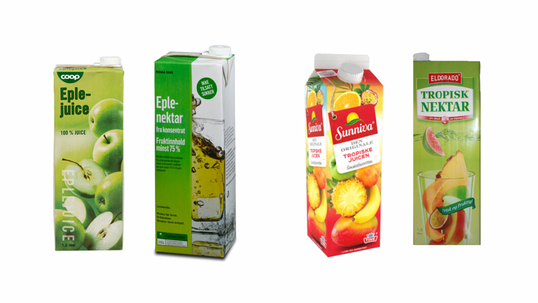 JUICE OG NEKTAR: Vet du forskjellen på juice og nektar? Det har rett og slett sammenheng med frukt- og sukkerinnholdet. Juice inneholder ikke tilsatt sukker, og har mer frukt.  Foto: Produsentene