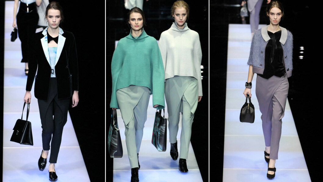 NÅ MED OMSLAGSSKJØRT: Den italienske designeren Armani har gitt bukseskjørtet en ny vri i høstens kolleksjon.  Foto: All Over Press