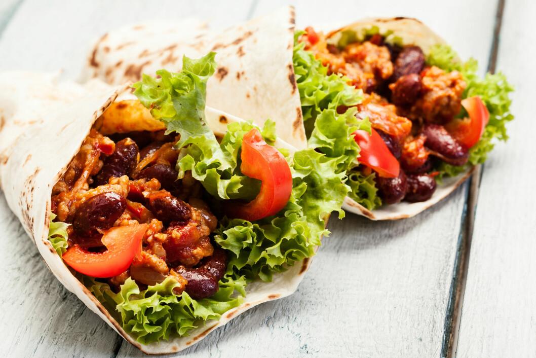 TACO: Lager du en sunnere taco med for eksempel bønner og ditt eget kryddder, kan du fint spise det flere ganger i uken.  Foto: fotek - Fotolia