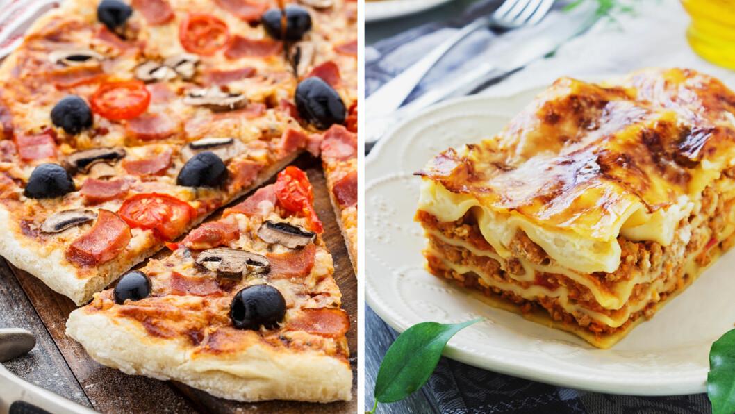 USUNNE MIDDAGER: Pizza og lasagne er to middager du kun bør spise én gang i uken, da de inneholder mye kalorier og fett.  Foto: Fotolia