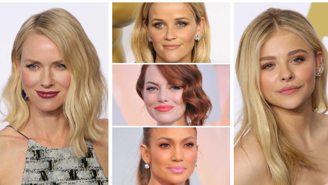 SMINKEN OG HÅRET: Naomi Watts, Reese Witherspoon, Emma Stone, Jennifer Lopez og Chloe Grace Moretz (til høyre) var blant kveldens vakreste - hår og sminkemessig, under Oscar-utdelingen søndag kveld.  Foto: All Over Press