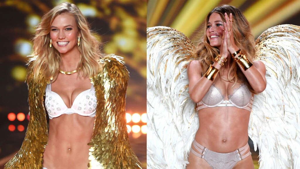 UTE AV VICTORIA'S SECRET: Supermodellene Karlie Kloss (22) og Doutzen Kroes (30). Foto: All over press
