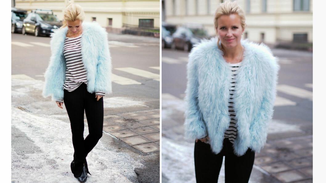 DAGENS BLOGGSTIL: STYLEmag-blogger Hedda Skoug topper hverdagslooken med en iøynefallende statement-jakke. Foto: Fashioncherry.blogspot.no