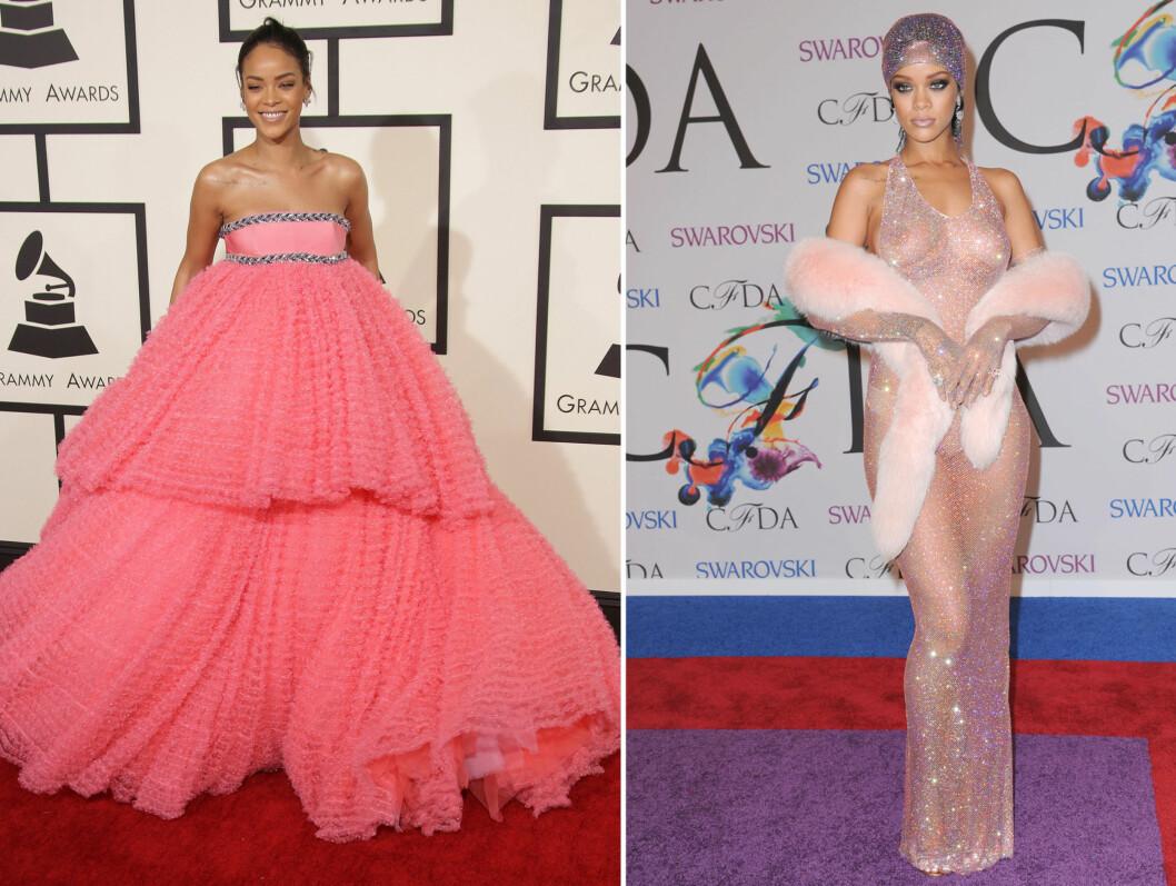 <strong>FOR EN FORVANDLING:</strong> Rihanna (26) var overraskende påkledd under søndagens Grammys. Vanligvis pleier hun å gå for mer oppsiktsvekkende kjoler - som fra CFDAs i fjor (bildet til høyre).  Foto: rihanna