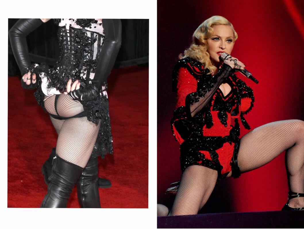 <strong>BLOTTET STUSSEN:</strong>Madonna blottet rumpa på den røde løperen, og senere på kvelden holdt hun et forrykende og svært sexy show på scenen.  Foto: All Over Press