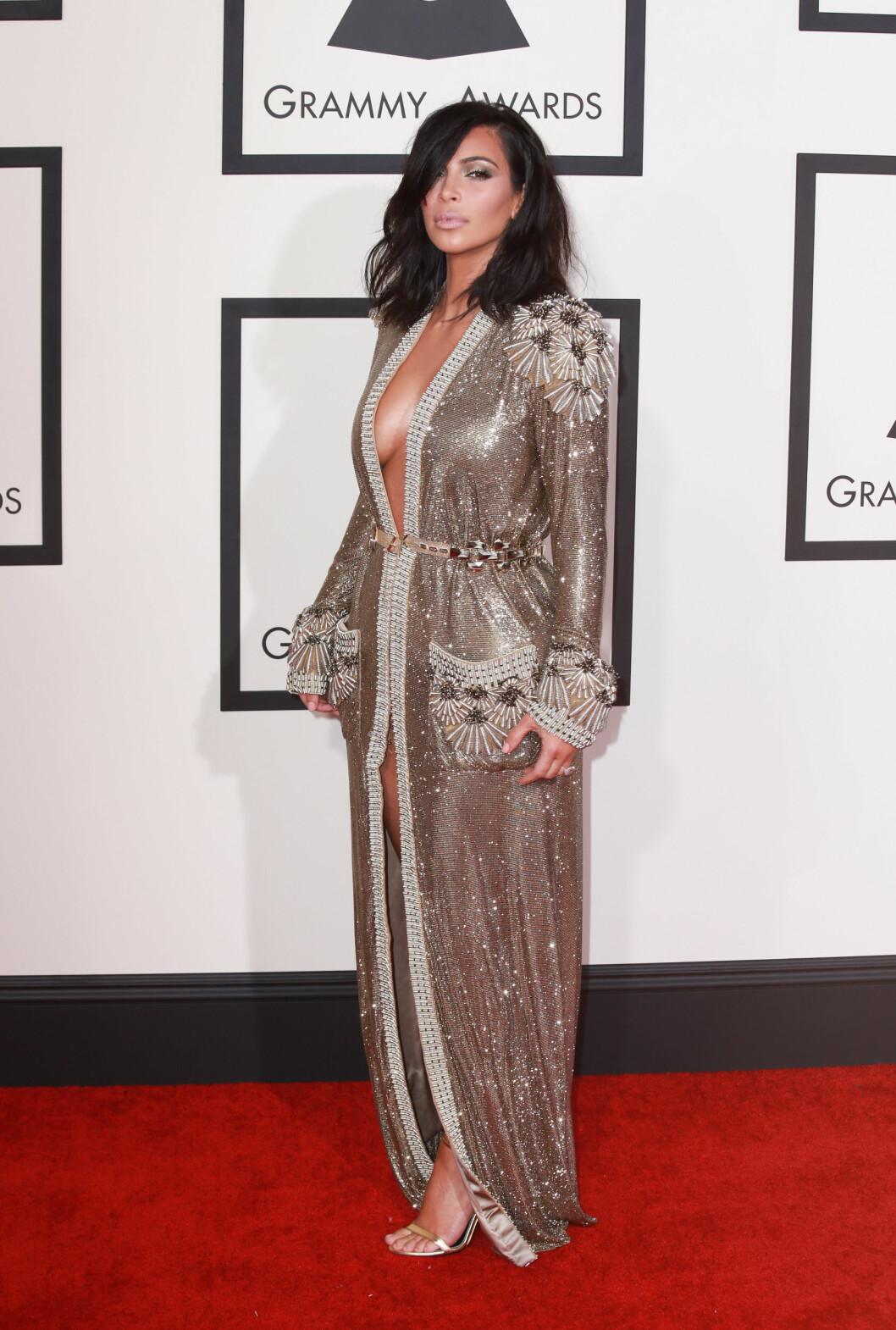The 57th Annual Grammy Awards red carpet on February 8, 2015 in Los Angeles, California.  Pictured: Kim Kardashian Ref: SPL945806  080215   Picture by: Splash News  Splash News and Pictures Los Angeles:310-821-2666 New York:212-619-2666 London:870-934-2666 photodesk@splashnews.com  Foto: Splash News/ All Over Press