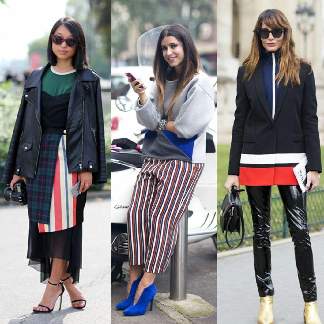 TRE MÅTER: Skjørt, bukse og jakke i rødt, hvitt og blått. Foto: All Over