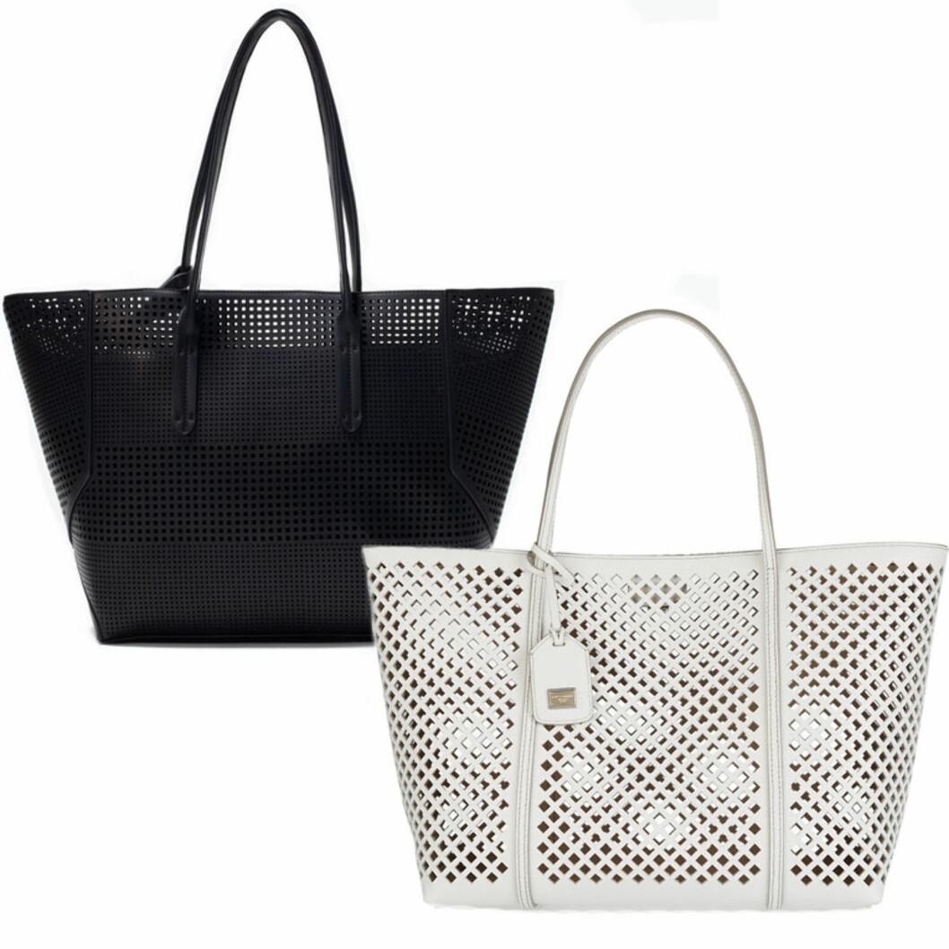 ZARA VS. DOLCE & GABBANA: Vesken til venstre er fra Zara og koster 559 kr. Vesken til høyre er fra Dolce & Gabbana og koster 7676 kr. Foto: Produsenten, Net-a-porter.com.