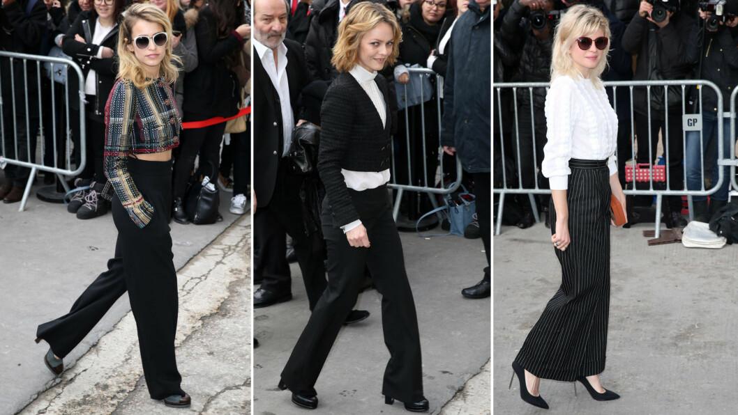 BYTTER UT CHANELSK TWEED MED VIDE TRENDBUKSER: Nå skal buksene ha dressbuksesnitt, og være overdimensjonerte, overdrevne og vide. Her ser vi Alice Dellal, Vanessa Paradis og Cecile Cassel på motevisningen til Chanel i Paris. Foto: All Over Press