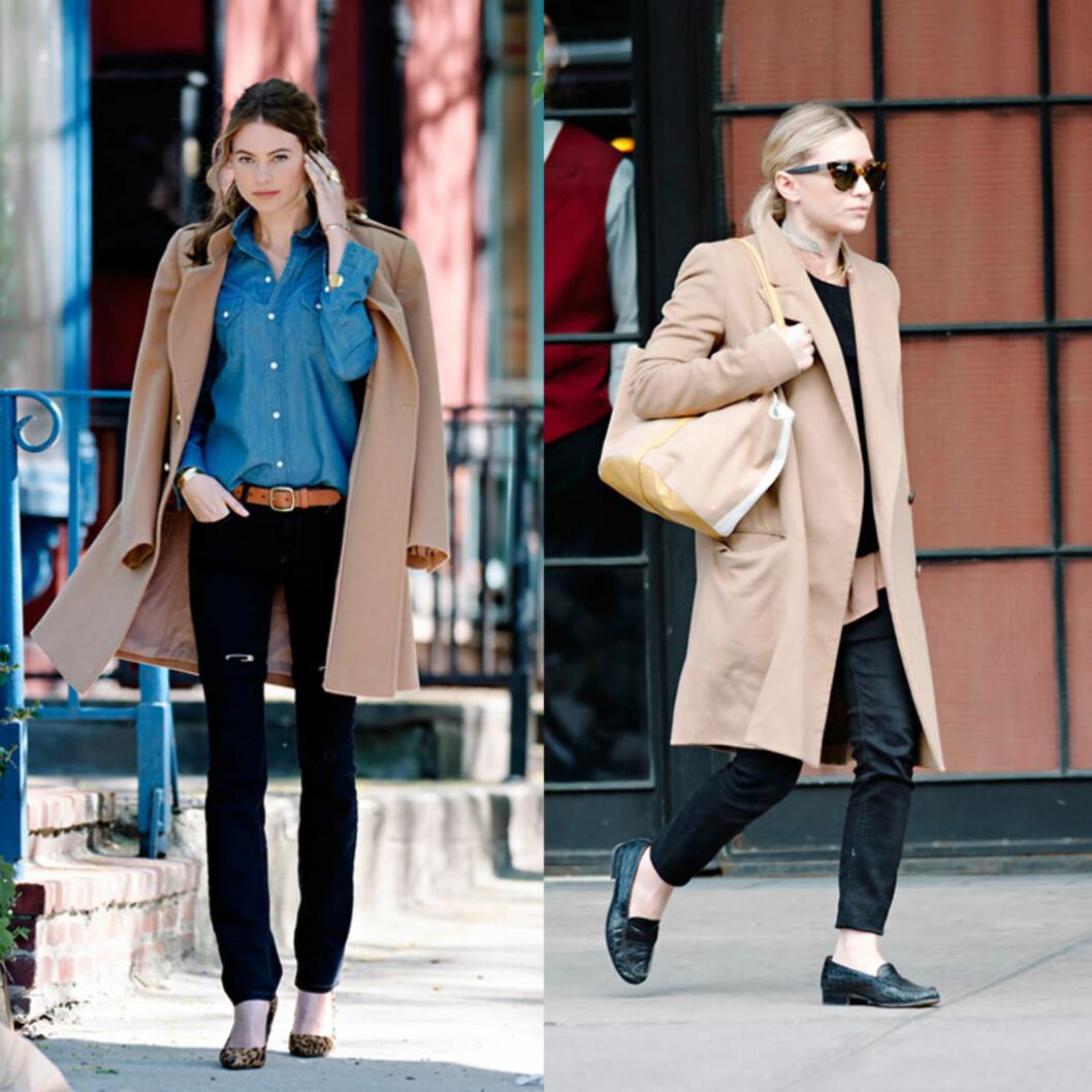 KAMELKÅPE: Victoria's Secret-modell Behati Prinsloo og Ashley Olsen har begge på seg en kåpe i trendfargen. Foto: All Over