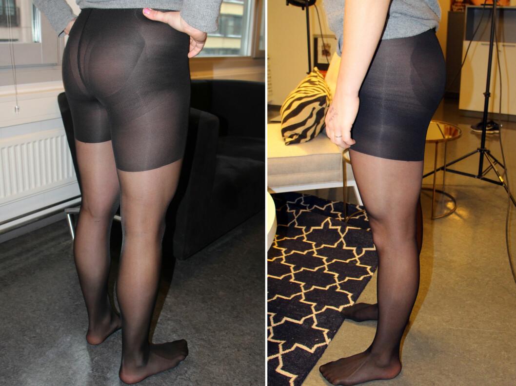 FIN RUMPE - LITT LITEN I STØRRELSEN: H&Ms push-up-tights er silkemyke og gode, og gir en fin rumpe, men at vi må gå ned en størrelse, trekker litt ned. Foto: Cecilie Leganger