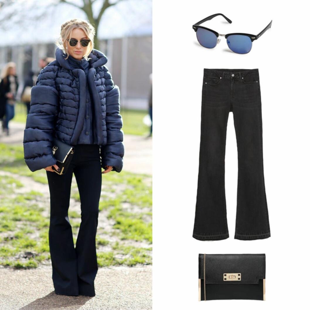 STREETSTYLE: Solbriller fra Lindex, kr 79,90. Jeans fra Zara, 559 kr. Veske fra New Look via Asos.com, 159 kr. Foto: All Over, Produsentene, Asos.com.
