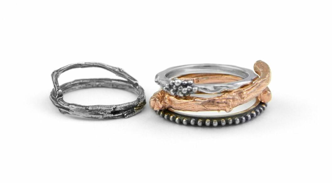 Ringer i oksydert sølv og roséfarget sølv (kr 525, 540 og kr 810, Hasla).