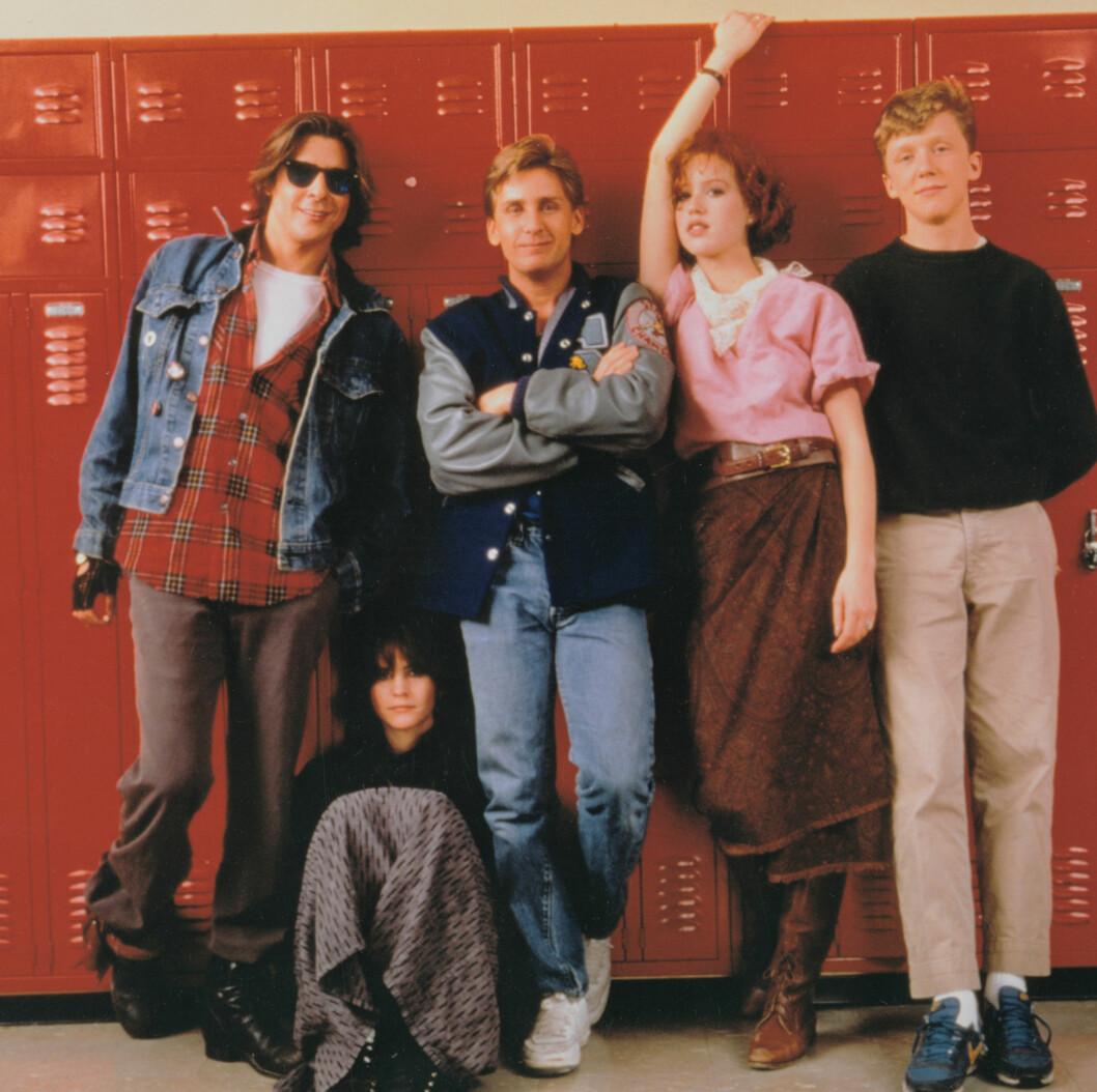 Judd Nelson, Ally Sheedy, Emilo Estevez, Molly Ringwald og Anthony Michael Hall i The Breakfast Club fra 1986.  Foto: insight media/All Over Press