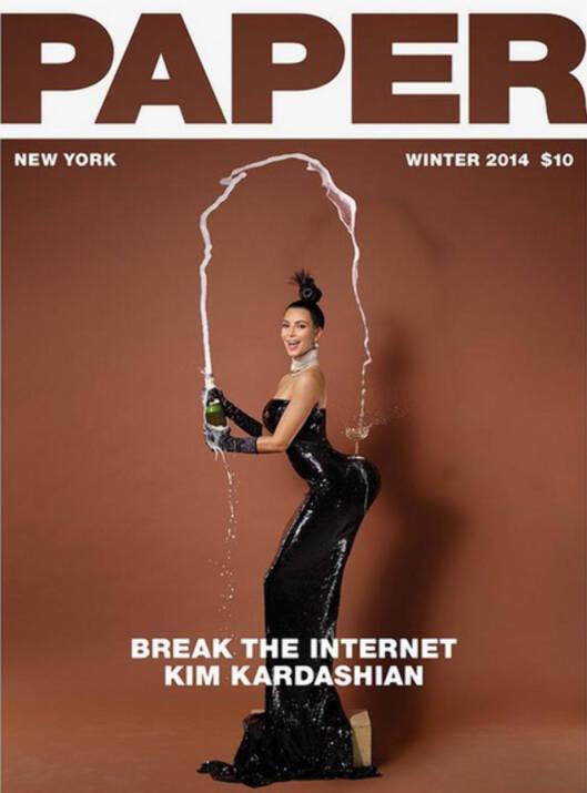 BREAK THE INTERNET: Paper hadde som mål å knuse nettet med sine Kim Kardashian-bilder.  Foto: Faksimile Paper magazine