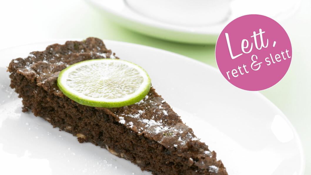 MAGRERE SJOKOLADEKAKE: Denne sjokoladekaken med lime og cottage cheese er nesten fri for fett! Foto: Inkognito as/Grete Roede