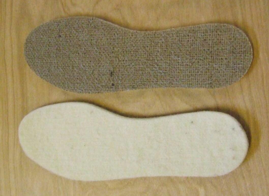 <strong>ULLSÅLE:</strong> En ekstra ullsåle i skoene vil gjøre at du holder varmen på bena mye bedre i vinter. Foto: Norsk ullsåle