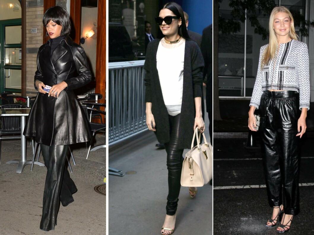 <strong>SHINY SKINN KAN VIRKE FORSTØRRENDE:</strong> Rihanna i helblankt antrekk, Jessie J i en matt bukse med perfekt lengde og Gigi Hadid i en skinnende løs modell.  Foto: All Over Press