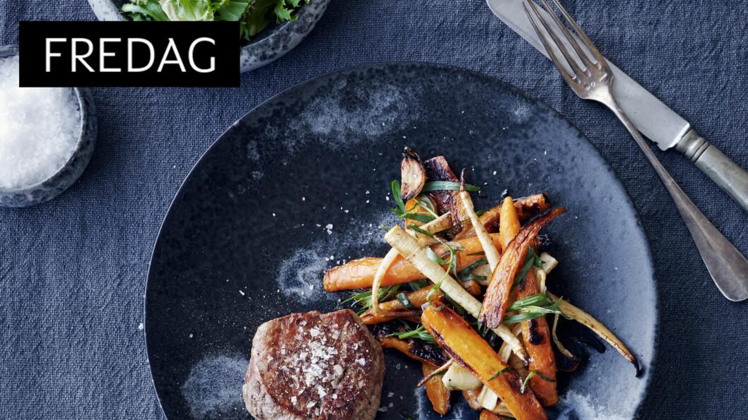 <strong>LUKSUSFREDAG:</strong> Grønnsakene passer også perfekt til stekt kylling eller en svinekotelett. Foto: All Over Press