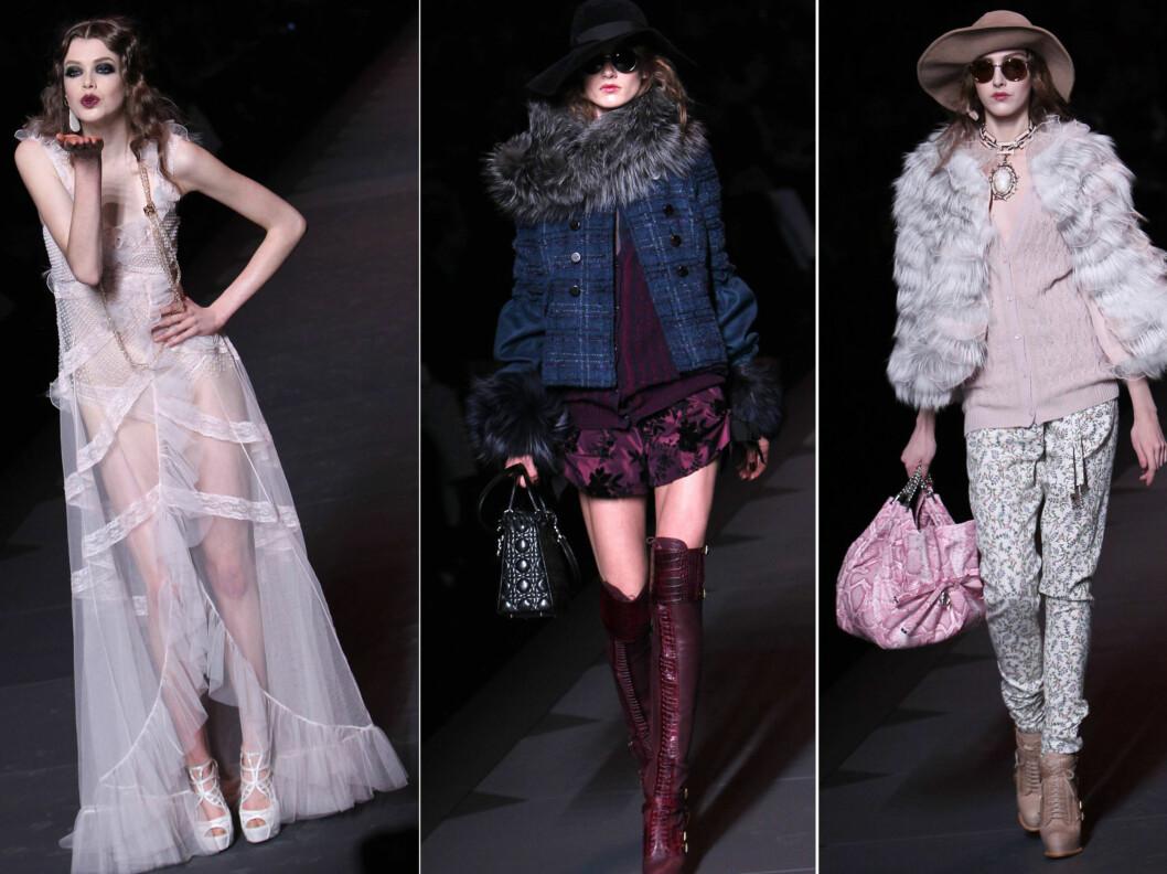 GALLIANOS SISTE KOLLEKSJON FOR DIOR: For høsten og vinteren 2011/2012, viste designeren ruter, pasteller og gjennomsiktige vintageinspirerte kjoler. Foto: All Over Press