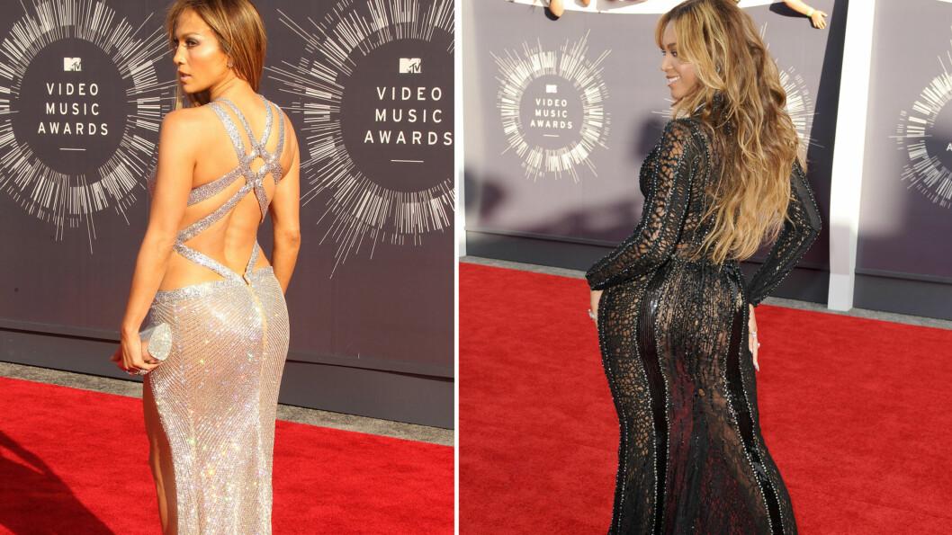RUMPEFOKUS: Hollywood er ville etter rumper om dagen. Her ser du Jennifer Lopez og Beyoncé.  Foto: All Over Press