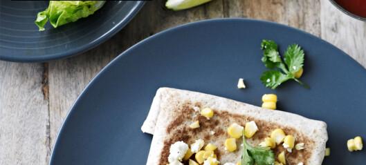 Black bean-enchiladas med maissalsa