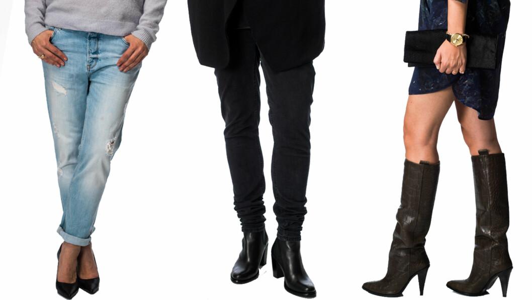 KLESTABBEN(E) DU VIL UNNGÅ: En stram jeans som er altfor lang er vanskelig å få til å funke, og styler du boyfriendjeansen feil, blir det heller ikke så fint. Få masse tips fra moteredaktøren om hva som er feil og riktig lenger ned i saken. Foto: Ole Martin Halvorsen