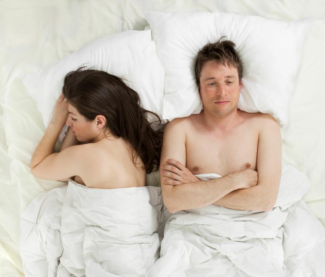 PRESTASJONSANGST: En av årsakene til at mange menn sliter med for tidlig sædavgang er at de har prestasjonsangst under sex.  Foto: andreusK - Fotolia