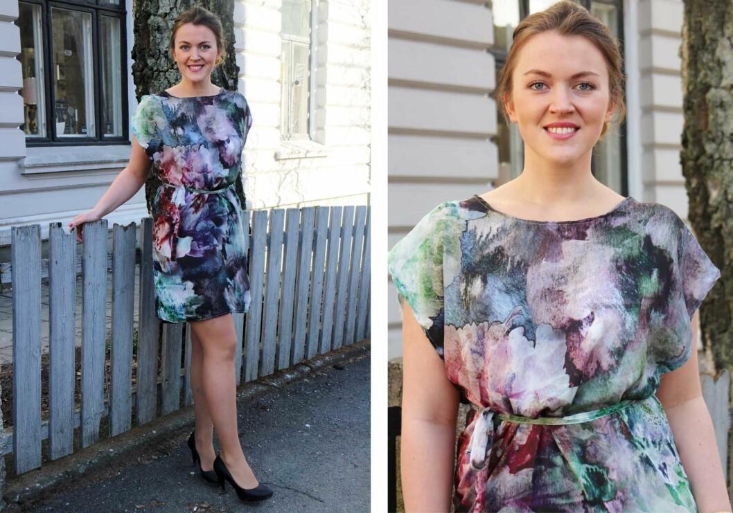 <strong>PÅ SARA:</strong> Sara brukte satengstoff for å sy den korte varianten av kjolen - som er pefekt på sommerfest, eller kan brukes som lang topp over en skinnbukse.  Foto: sydetselv.blogg.no